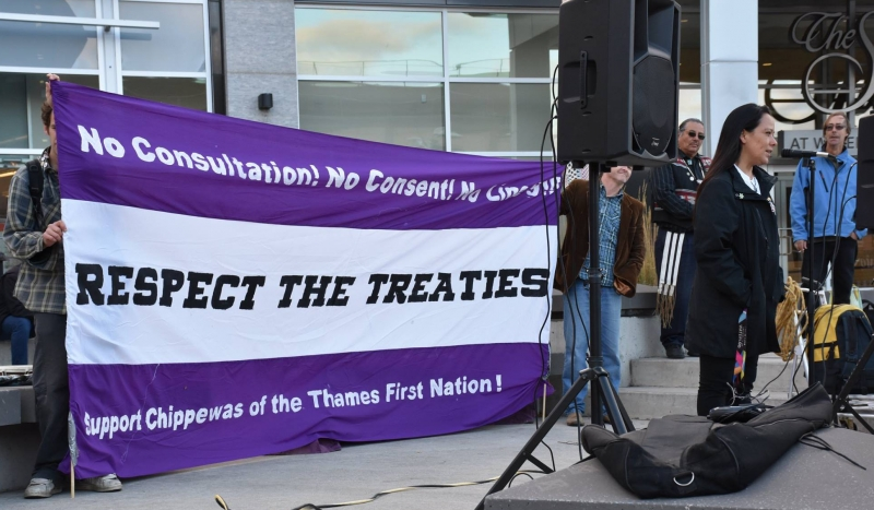 #NoLine9 Demo in Waterloo Oct 7 2015. Speaker AmySmoke, Photo by AnishinabekRise (facebook user)